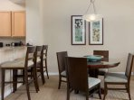 Warm colors in the dining room area are very pleasing to the eye