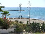 Balcony view of beach and fishing man