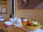 Large fruit bowl - cereal, yoghurt, croissants, porridge, hot option, fresh coffee/tea, fruit juice