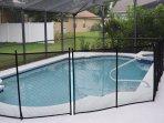 Pool with removable safety fence