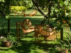 Seatings Under Muscat Grape Arbor in Casa Ishi Villa Garden