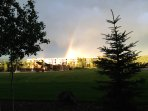 a rainbow guiding you to the pool, tennis courts, spa, hot tubs, restaurant, golf course,