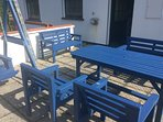 Back patio with garden furniture.