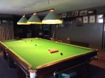 Full-sized snooker table!  The building has its own heating system.  Just shut off and lock up after