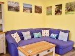 Living Area: leather corner sofa