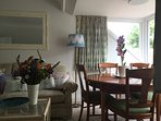 Dining area next to double sofabed with sprung base - overlooking fabulous garden