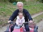 EWvie one of our family glampers going for a quad ride with Clwyd