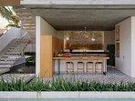 Villa Panjang at caSabama Estate, Saba Beach, Bali.  Kitchen and Breakfast Bar