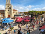 Enjoy coffee & more in the bustling village square & main street - traffic-free in high season.