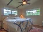 You'll sleep well in the master bedroom, which features a king-sized bed.