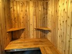 Sweat out all of your worries in the sauna, available during the winter.