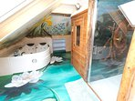 Ensuite Bathroom with Double jacuzzi, toilet , Sauna and large Shower