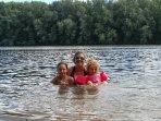 Swimming in lake.