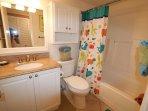 Full Bathroom with Bathtub/Shower, plenty of fresh towels, guests soaps, hair dryer