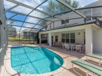 Spacious Pool Deck with Safety Fence to Shaded Lanai