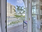 Step out onto the balcony to get some fresh air!