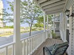 Sit back and relax on the front porch while chatting with your travel companions.