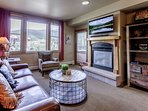 Gas fireplace and large flatscreen TV