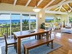 Dining Room and Living Room with Ocean Views - Upper Level