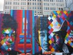 Mural of Bob Dylan, a hometown songwriter and performer