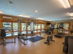 Gym overlooking the Canyon Creek pool