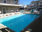 Super clean family-friendly heated pool and sundeck