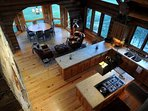 Overhead look at kitchen dining area