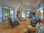 The main house features a spacious living room with tons of seating for everyone in your travel group.
