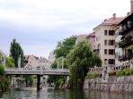 Ljubljana Old Town viewwed from the Ljubljanica River