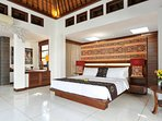 Super King Bed in Master Suite and Sofa Bed with work space corner and walk-in wardrobe