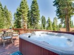 Hot tub on the spacious and bright back deck