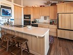 Kitchen counter with a breakfast bar