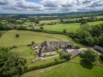 Drone image showing the stunning countryside setting of the property