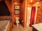 UPSTAIRS FULL BATH INCLUDING 2 PERSON JACUZZI, BLOW DRYER PROVIDED