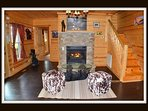 front enterance - gas fireplace - stairs to 2 bedrooms & 1 bathroom - door to master bedrrom - main level