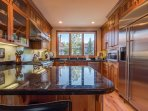 There's plenty of counter space in the fully-stocked third-floor kitchen.