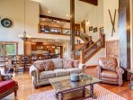 Spacious living room with high vaulted ceilings
