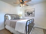 The bedroom has a comfortable queen-sized bed.