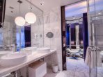 Marble bathroom with double sinks