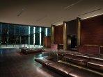 Spacious lobby with elegant fixtures