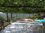 Private outside terrace with table and chairs for your relax  at villa in sorrento coast with pool
