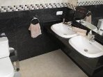 Beautiful Marble and spacious Ensuite off master bedroom with Bath, Shower and double Sinks.
