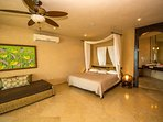'Bali' master suite, seaview, king bed and twin bed