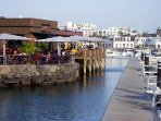 Stunning Marina Rubicon with bars restaurants and market days, a lovely 20-25 minute walk away