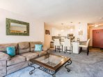Comfortable living room w Queen Size Sleeper Sofa / Breakfast Bar w seating for 4