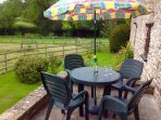 Enjoy dining outside with countryside views