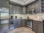 Fully Equipped Gourmet Kitchen with Granite Counters, Stainless Steel Appliances