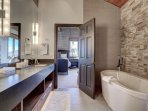 Upper Floor Master Suite Private Bath with Soaking Tub and Stone Shower