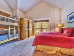 Bedroom 2 with King Bed, Twin/Twin Bunk Bed, TV, Private Deck and Private Bath