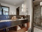 Lower Level Master Suite Private Bath with Stone Shower